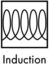 Na dne nádoby vhodnej na indukčnú varnú dosku je grafický symbol cievky, prípadne slovné označenie Induction/Induktion.