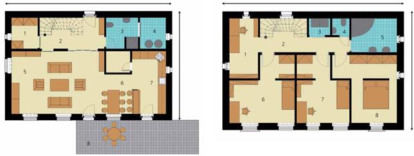 Pôdorys prízemia 1 – šatník/technická miestnosť 2 – 4,79 m2 2 – predsieň aschodisko – 11,53 m2 3 – kúpeľňa – 5,74 m2 4 – technická miestnosť 1 – 4,64 m2  5 – obývačka 23,97 m2 + pracovňa 10,42 m2   6 – jedáleň   7 – kuchyňa – spolu 21,27 m2  8 – terasa  Pôdorys poschodia 1 – izba – 8,42 m2 2 – chodba aschodisko – 6,76 m2 3 – práčovňa – 1,81 m2 4 – WC – 1,42 m2  5 – kúpeľňa – 7,6 m2 6 – detská izba – herňa – 18,39 m2 7 – detská izba – spálňa – 15,09 m2 8 – spálňa rodičov – 17,27 m2