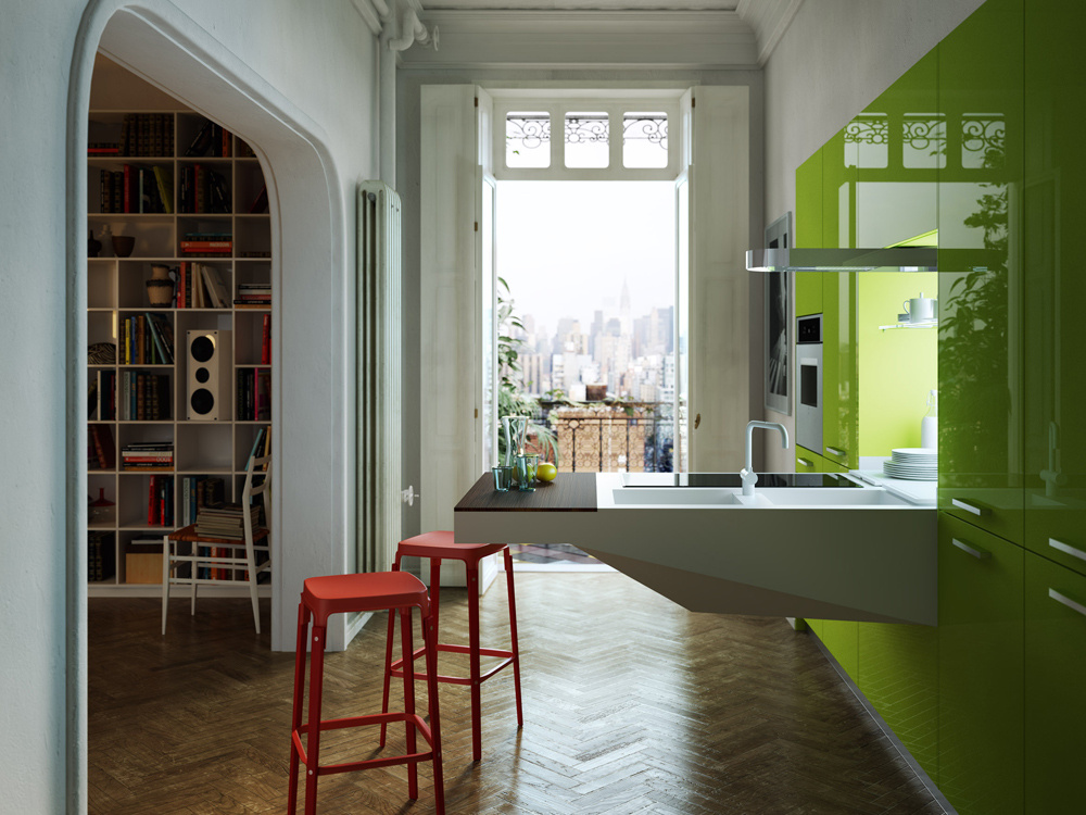 Výsledkom spolupráce architekta Pietra Arosia svýrobcom kuchýň Snaidero je kuchyňa Board, ktorá mení názor na kuchynský priestor ajeho usporiadanie. Inšpiroval sa industriálnym prostredím, ktoré prenáša do domáceho priestoru. Inšpiratívna je odvážna farebnosť anový názor na koncepciu kuchynskej linky.