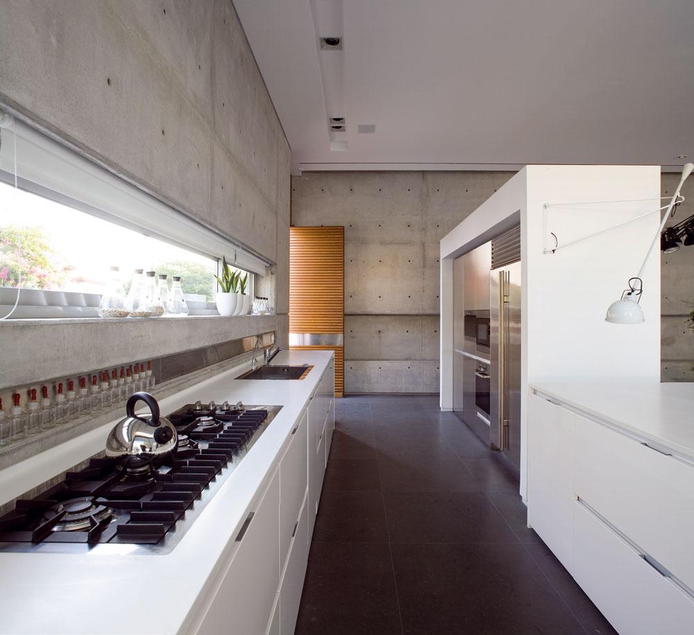 Vkuchyni slúži ako odkladací priestor parapet pásového okna avýrez vmúre pozdĺž pracovnej dosky. Zopačnej strany kuchyne, od dverí do záhrady, sa núka výhľad na reflexnú nádrž, rolety chránia interiér pred popoludňajším slnkom.  Vloftovom architektonickom rámci sú integrované spotrebiče Miele zleštenej ocele, kanvica Alessi Mami od Stefana Giovannoniho (2003) na sporáku je ďalším príkladom zkolekcie špičkového talianskeho dizajnu.