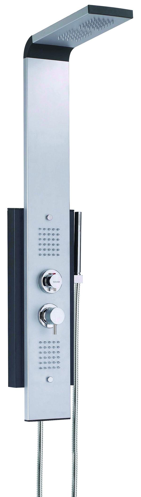 Hydromasážny panel Cobra poskytuje spolu stropickým dažďom vytvoreným šesťdesiatimi dýzami vhornej časti panelu aj ďalších šesťdesiat dýz na masáž celého tela. Má aj ručnú sprchu aje osadený termostatickou batériou sdetskou poistkou. Dýzy sú chránené proti zaneseniu vodným kameňom. Inštaluje sa na stenu. Cena 815 €. Predáva Ravak.
