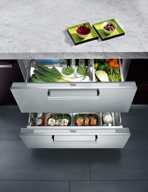 Zásuvková chladnička HotPoint BDR 190 AAI pod pracovnú dosku, 2 zásuvky, energetická trieda A+, 86,5 × 89,8 × 54,8 cm, objem 150 l, 999 €