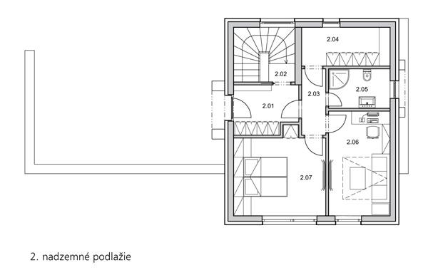 2. nadzemné podlažie 2.01 – chodba so šatníkom 2.02 – schodisko 2.03 – chodba 2.04 – šatník 2.05 – kúpelňa 2.06 – pracovňa/hosťovská izba 2.07 – spálňa