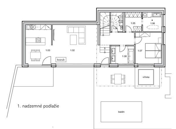 1. nadzemné podlažie 1.02 – obývačka 1.03 – kuchyňa a jedáleň 1.04 – toaleta 1.05 – šatník 1.06 – práčovňa 1.07 – spálňa 1.08 – kúpelňa