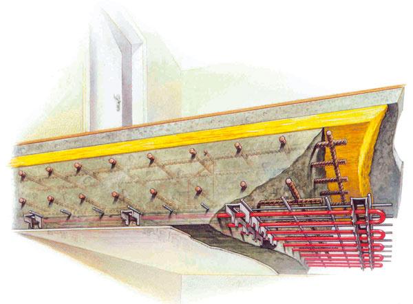 Schéma systému stropného chladenia integrovaného priamo vželezobetónovej stropnej doske