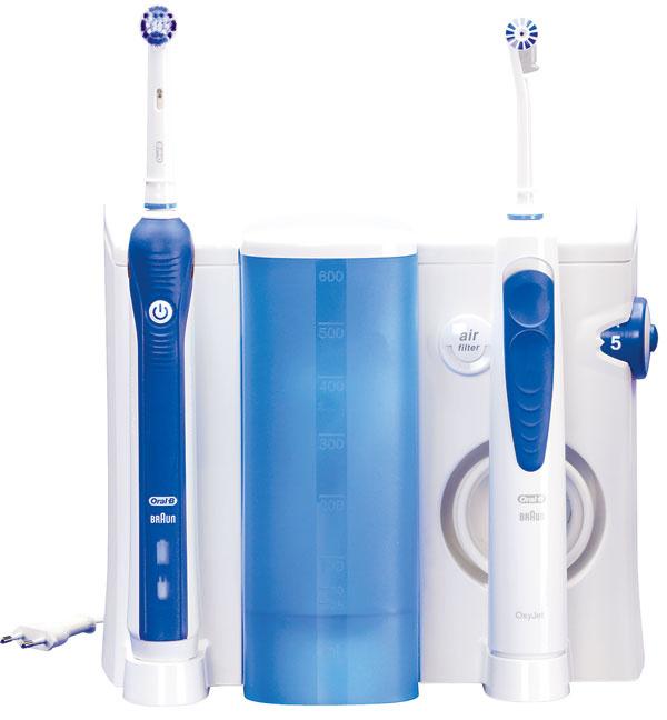 Oral-B OC 20.545 ProfessionalCare, rodinná zostava na kompletnú ústnu hygienu. Kombinácia zubnej kefky aústnej sprchy. Technológia 3D– oscilačno-rotačný apulzný pohyb kefky, mechanický tlakový senzor šetrí zuby aďasná, ústna sprcha používa technológiu mikrobubliniek nalikvidáciu baktérií zubného povlaku (vzduch sa nasáva dovnútra cez vzduchový filter amieša sa svodou), pracuje na pulznom princípe. Príslušenstvo vbalení: 4zubné dýzy OxyJet ED 17–4, štandardná zubná kefka Flexisoft EB 17, bieliaca zubná kefka ProBright EB 18–2, medzizubná kefka Interspace, čistič jazyka, cestovné puzdro na rukoväť na 2kefky. Cena 99 €. Predáva mall.sk.