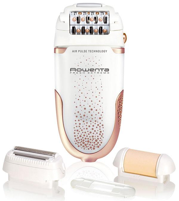 Dámský epilátor Rowenta Fresh Extreme Shaving EP7344D0 spatentovanou technológiou Micro-Contact na depiláciu najkratších chĺpkov od 0,5 mm. Technológia air pulse – svieži prúd vzduchu ochladzuje pokožku atlmí bolesť, ergonomická výkyvná hlava, osvetlenie pokožky, výmenná aumývateľná holiaca hlava, exfoliačná hlava odstraňuje odumreté bunky apredchádza tak zarastaniu chĺpkov, nadstavec na podpazušie, 24 presných pinziet, masážny systém – 24 guľôčok na uvoľnenie pokožky azníženie bolesti, 2 rýchlosti. Cena 78,90 €.