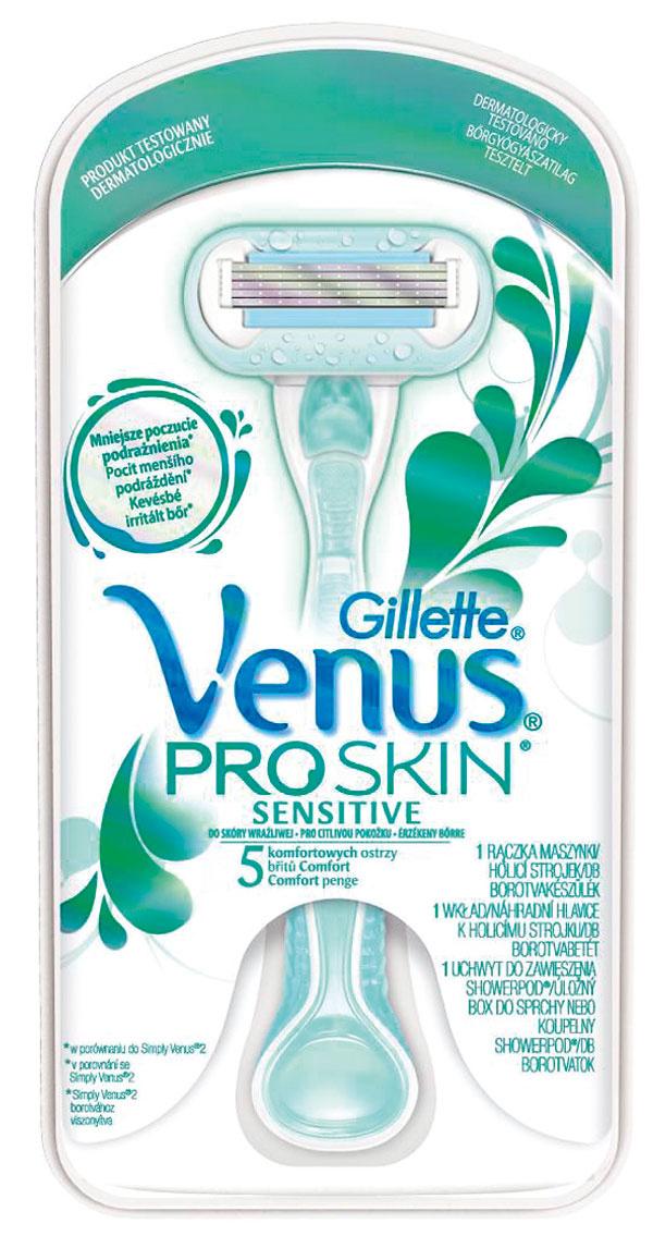 Dámsky holiaci strojček Gillette Venus ProSkin Sensitive spiatimi čepieľkami alubrikačným pásikom umožňuje oholenie bez podráždenia pokožky. Pomáha chrániť citlivú pokožku azároveň zmierňuje nepríjemný pocit počas holenia. Cena strojčeka + 1 holiaca hlavica + držiak do sprchy 10,99 €.