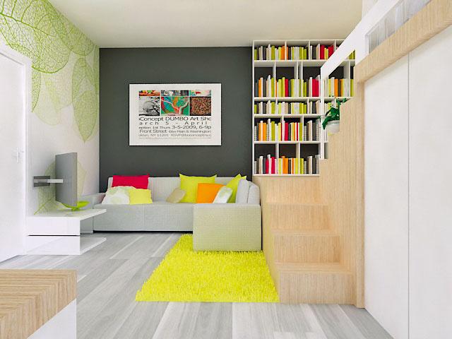 """Jednoizbový byt sobytnou plochou 38 m2 zariaďovali architektky zKIVVI architects pre mladý pár. Dispozícia ostala pôvodná, všetky staré problémy vyriešili len novým zariadením. """"Toto usporiadanie miestností je vdanom priestore asi najlepšou možnosťou, navyše, veľké stavebné úpravy či presúvanie rozvodov by boli zbytočne drahé,"""" zdôvodňuje Kika."""