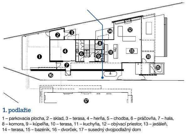 1. podlažie   1 – parkovacia plocha, 2 – sklad, 3 – terasa, 4 – herňa, 5 – chodba, 6 – práčovňa, 7 – hala,  8 – komora, 9 – kúpeľňa, 10 – terasa, 11 – kuchyňa, 12 – obývací priestor, 13 – jedáleň,  14 – terasa, 15 – bazénik, 16 – dvorček, 17 – susedný dvojpodlažný dom
