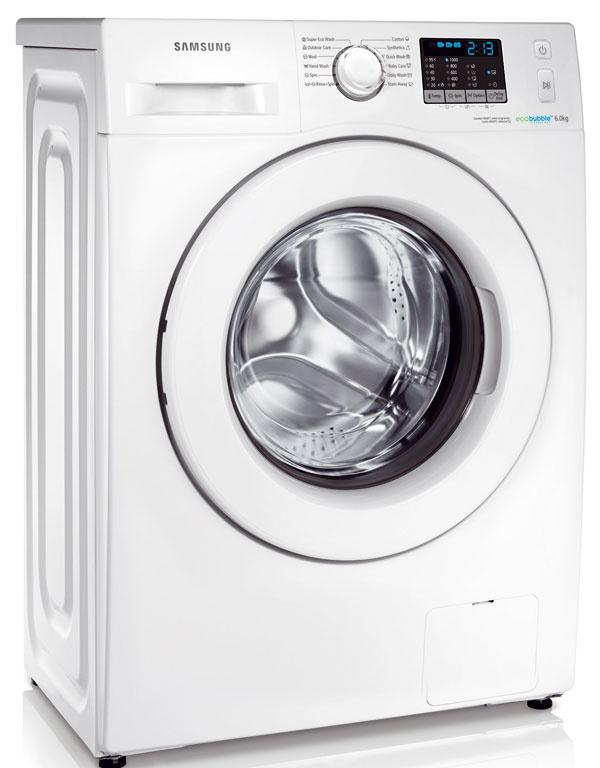 Samsung WF60F4EOWOW/LE, kapacita 6 kg, energetická trieda A++, spotreba energie 0,77 kWh, vody 39 l, odstreďovanie 1 000 ot./min, hlučnosť 61/74 dB, Eco Bubble, Fuzzy Logic, Smart Check, 419 €