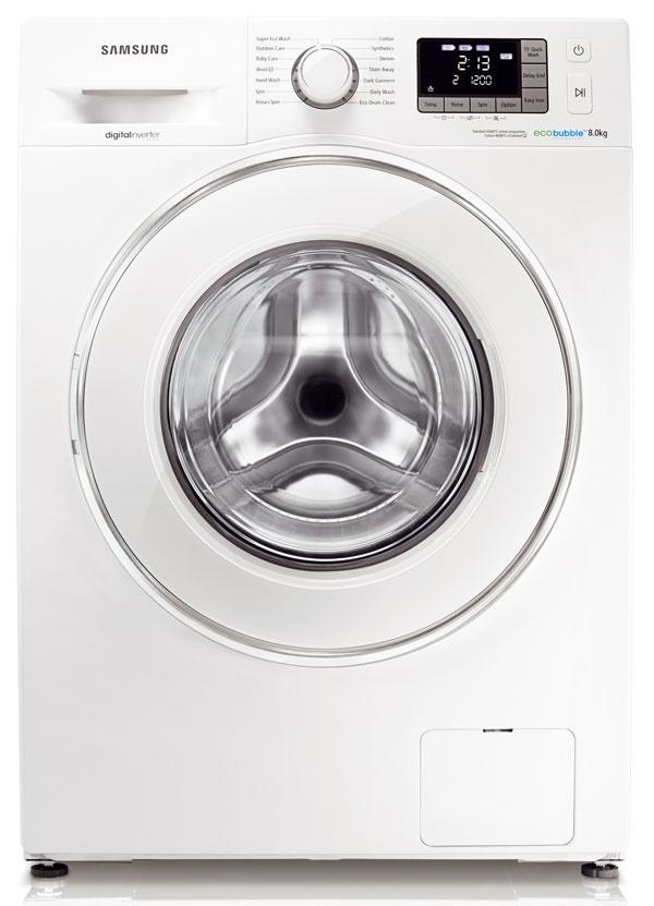 Samsung WF80F5E5U4W, kapacita 8 kg, energetická trieda A+++, spotreba energie 0,71 kWh, vody 47 l, odstreďovanie 1 400 ot./min, hlučnosť 53/74 dB, Eco Bubble, motor Digital Invertor (10-ročná záruka), Fuzzy Logic, 659 €