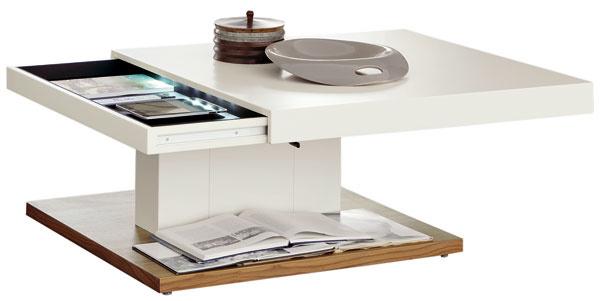 Hülsta CT140, výškovo nastaviteľný konferenčný stolík sjednou zásuvkou, prírodná dyha, jadrový jaseň/orech, prírodný dub ajantár, biely, hnedočierny, sivý akakaový lak, 100 × 100/120 × 80 cm, od 1899 €, Merito