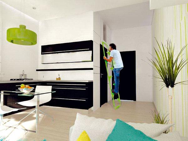 Skvelý priestor na uskladnenie získate napríklad znížením stropu vkúpeľni. Výborne sa hodí na odloženie kufrov, lyží či sánok aje pohodlne prístupný zo vstupnej predsiene.