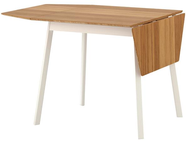 IKEA PS 2012, rozkladací jedálenský stôl, stolová doska zbambusu, hliníkové nohy, 106/74/138 × 80 × 74 cm, 169 €, IKEA
