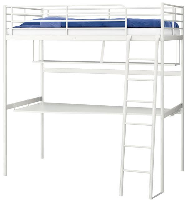 Tromsö, vysoká posteľ srebríkom aspracovnou doskou, oceľ, drevotrieska, laminát, 208 × 164/206 × 97 cm, 209 €, IKEA