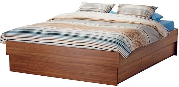 Oppdal, posteľ soštyrmi zásuvkami anastaviteľnými bočnicami, drevotrieska, 249 €, IKEA