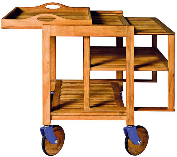 Trick, vozík zmasívneho tíku, vyrobený ztroch prvkov (konštrukcia, tácka aodstrániteľné police), dizajn Giuseppe Chigiotti, Driade, 67 × 49 × 78 cm, 824,20 €, Konsepti