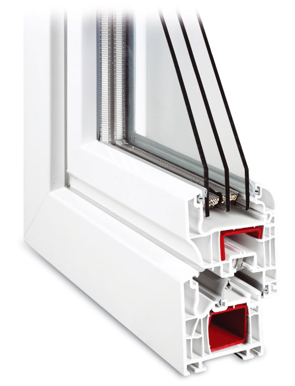 Zasklenie izolačným trojsklom má výrazný vplyv na zníženie úniku tepla: rez plastovým oknom (foto: Kalypso)