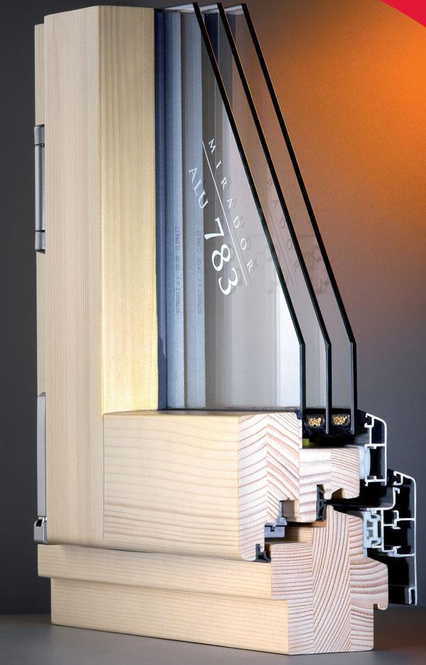 Zasklenie izolačným trojsklom má výrazný vplyv na zníženie úniku tepla: rez drevohliníkovým oknom – interiérová strana