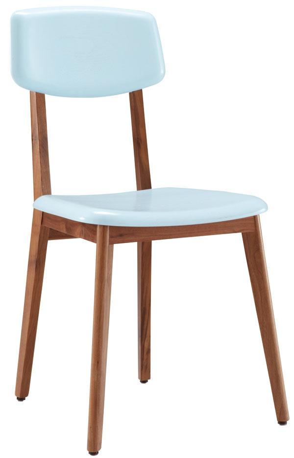 Stolička Marcello, dizajn Nathan Yong, masívny orech, bledomodrý lak, 1002 €/2 ks, Ligne Roset