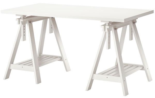 Stôl Linnmon/Finnvard, masívna breza, lak, drevovláknitá doska, plast ABS, papier, 150 × 75 cm, 89,99 €, IKEA