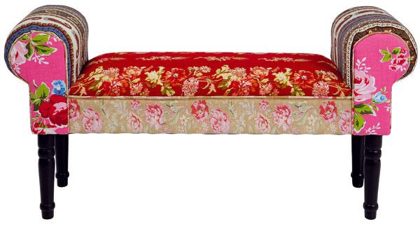 Lavica Patchwork Wing, lakované kaučukové drevo, bavlna, 54 × 100 × 30 cm, 135,90 €, Kare, Light Park
