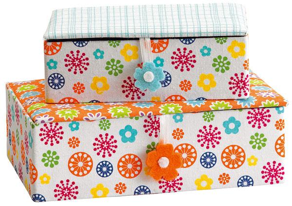 Darčekový box, farebný vzorovaný textil, 16,5 × 10,8 × 6 cm, 5,59 €, kika