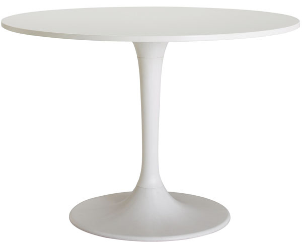 Stôl Docksta, drevovláknitá doska s akrylovou farbou, spevnený polyamidový plast, priemer 105 cm, výška: 75 cm, 149,90 €, IKEA
