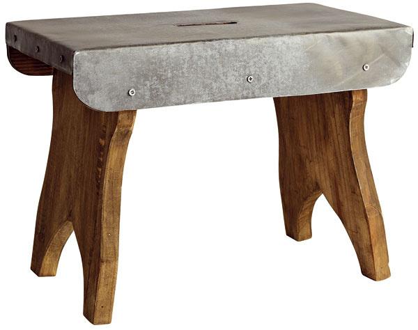 Drevená stolička, čiastočne pozinkovaná, tmavé morené drevo, pozinkovanie vtmavosivej farbe, 42 x 25 cm, výška 32 cm, 54,92 €, Bella Rose