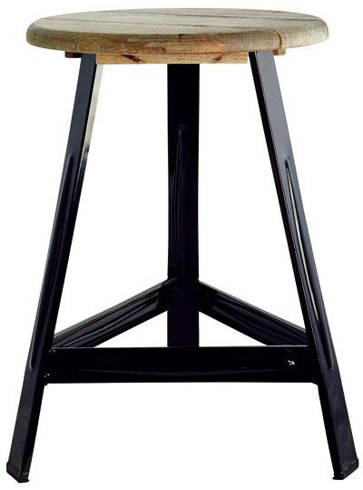 """Stolička na kovových nôžkach včiernej farbe, drevený sedák snápisom """"Have aseat"""", výška 48 cm, priemer sedáka 32 cm, 82,40 €, Bella Rose"""