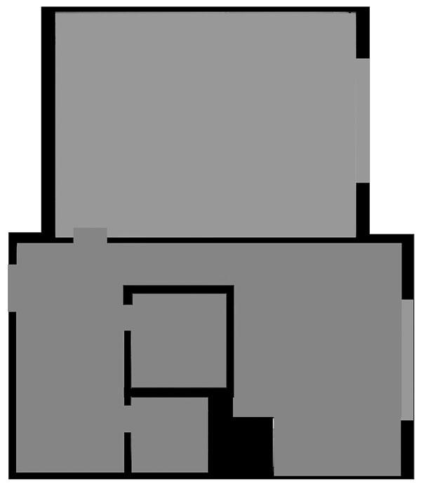 Pôvodný pôdorys. Chodbička medzi predsieňou akuchyňou bola vjednoizbovom byte zbytočným priestorovým luxusom.  Predsieň mala pôvodne steny ako ementál – tesne vedľa seba tu boli dvere do WC, kúpeľne aotvorená chodba, ktorá končila vkuchyni, na susednej stene dvere do obývačky aoproti vchodové.