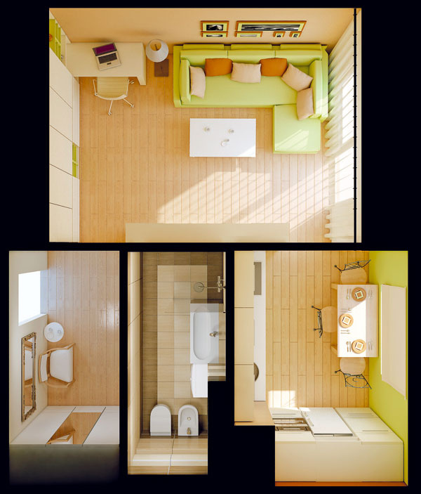 Návrh. Dôležité dispozičné vylepšenie: bývalú chodbičku pričlenila Jasna k susednej kúpeľni, čím sa podstatne zlepšili nielen priestorové podmienky kúpeľne, ale aj možnosti na zariadenie predsiene a kuchyne – vďaka stenám bez dverí bolo možné zariadiť ich praktickejšie a sväčším množstvom odkladacích priestorov.