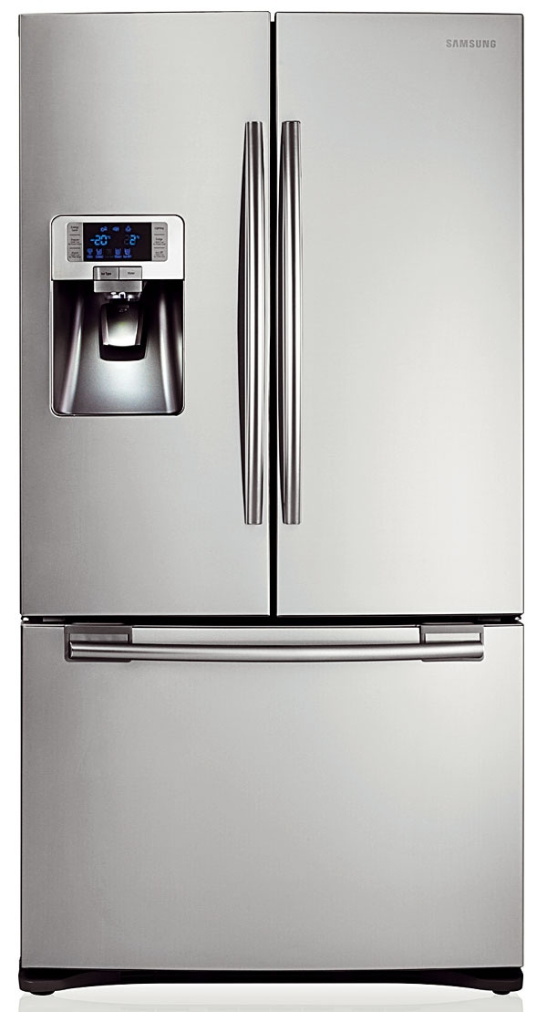 Samsung French Door RFG23UERS1 2 199 €, energetická trieda A+, spotreba 426 kWh/rok, objem 396/124 l, NoFrost, MultiFlow, Twin cooling plus, Cool Select Zone, hlučnosť 44 dB, 90,8 × 177,4 cm, 2 199 €