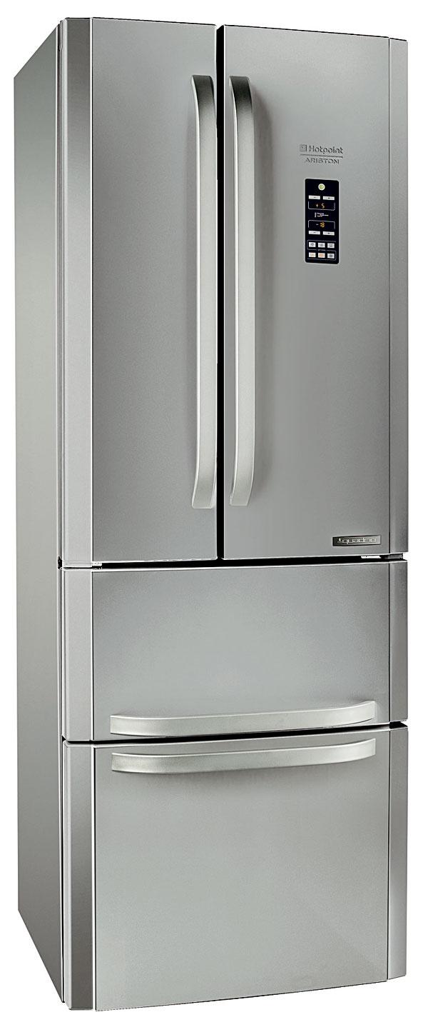 Hotpoint Quadrio E4DG AAA X O3, štvordverová chladnička amerického typu, šírka iba 70 cm, energetická trieda A++, spotreba 321 kWh/rok, objem 292/110 l, hlučnosť 40 dB, Active Oxygen, No Frost, Super Freeze, 70 × 195,5 cm, 799 €