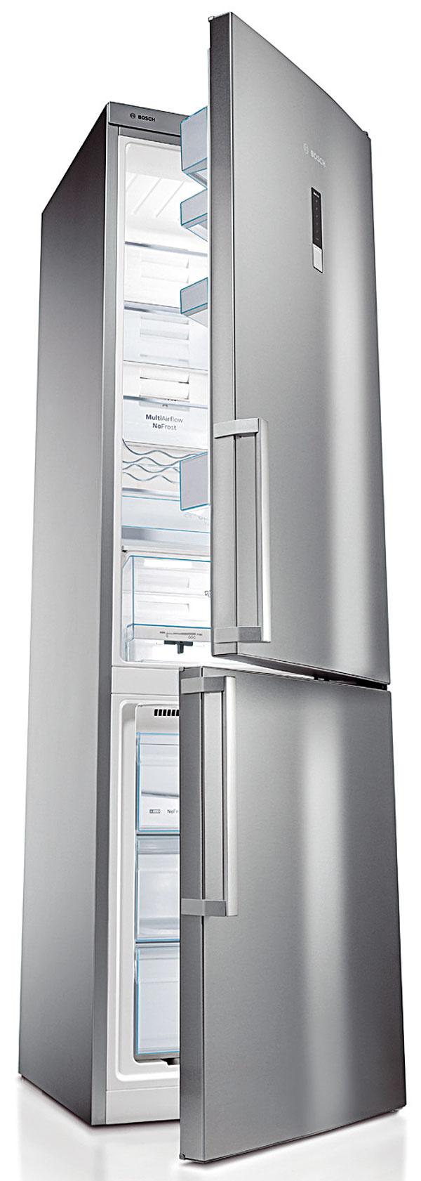 Bosch KGN 39XI40 energetická trieda A+++, spotreba 179 kWh/rok, objem 269/86 l, oddelené regulovanie teploty vchladiacej amraziacej časti, NoFrost, AntiBacteria, hlučnosť 39 dB, 60 × 201 cm, 1 399 €
