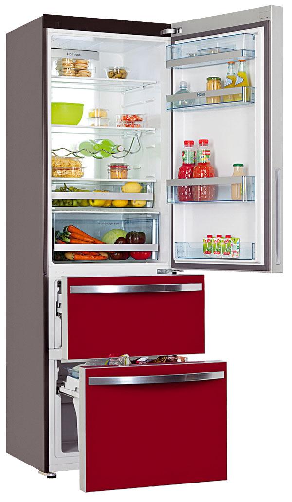 Haier AFD 631 GW, kombinovaná  chladnička, energetická trieda A+, spotreba 317,55 kWh/rok, objem 230/78 l, antibakteriálny povrch, NoFrost, Extra High – LED displej, Super Freeze, hlučnosť 42 dB, 60 × 188 cm, 699 €