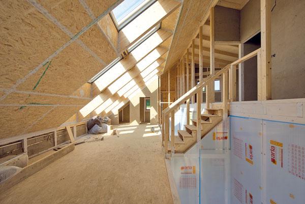"""Funkcie medzipriestoru: umožňuje, aby sa slnečné svetlo dostalo do všetkých obytných miestností,  v zime slúži ako energetický """"nárazník"""" – je od obytných priestorov oddelený izolačným dvojsklom a počíta sa v ňom s nižšou teplotou. Tým sa znižuje energetická náročnosť domu v najchladnejších obdobiach, vo vysokom priestore vzniká komínový efekt, čo zvyšuje účinnosť vetrania v lete,  výškové posunutie časti dispozície o pol podlažia vyplýva zo snahy o lepšie presvetlenie spodných miestností a zároveň prináša netradičný a hravý priestor, na spodnom podlaží vďaka nemu vznikol v strede domu skleník, po akom Dáša vždy túžila – pri obývačke na okrasné a tropické rastliny, pri kuchyni úžitkový, veľká plocha pod strešnými oknami sa má využivať multifunkčne – ako univerzálny stretávací priestor, herňa pre deti, slnečná relaxačná miestnosť, čitáreň…, slúži ako vertikálna komunikácia medzi prvým a druhým podlažím."""