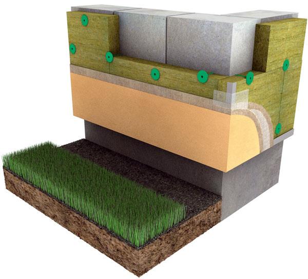 Schéma vyhotovenia kontaktného zatepľovacieho systému obvodovej steny zpórobetónu (obr.: Knauf Insulation)