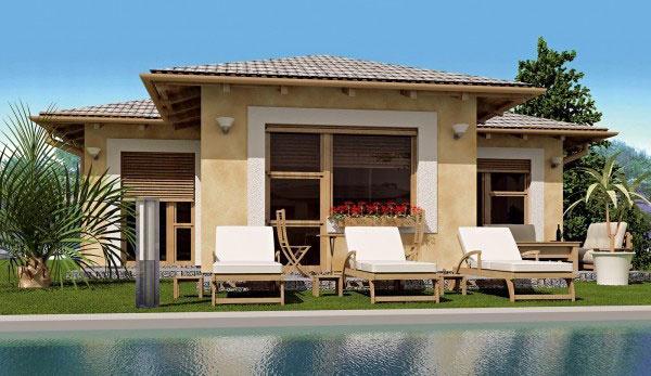 Rodinný dom JAVIJANI 21 Ateliér: JAVIJANI group, Ing. arch. Viktor Čičaj  Javijani 21 je samostatne stojaci rodinný dom pre 4- až 6-člennú rodinu. Dispozične sa delí na dennú a nočnú časť. Na prízemí sa nachádza obývacia izba s kozubom a priamym vstupom do záhrady, jedáleň, kuchyňa, zádverie so šatníkovou skriňou, tri spálne, chodba a kúpeľňa. V projekte sú navrhnuté klasické stavebné materiály dostupné na slovenskom trhu. Steny sú murované, krov je drevený, krytina betónová alebo z pálenej škridly. Okná a dvere môžu byť drevené alebo plastové. Na želanie možno urobiť zmeny na základe požiadaviek investora.
