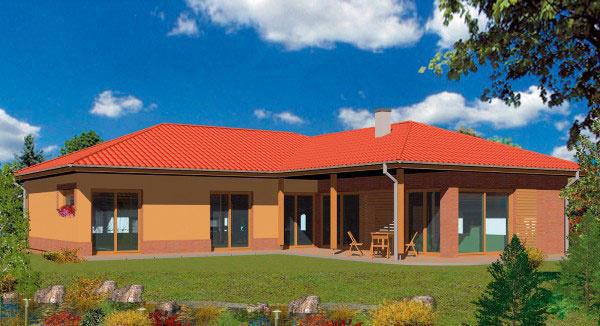 Rodinný dom Prízemný L 30 Autori projektu: Ing. arch. Martin Prokopovič, Ing. arch. Ľubica Ondreášová   PRÍZEMNÝ DOM L môže byť 4- až 6-izbový (závisí od alternatívy) so sedlovou alebo plochou strechou. Spálňová časť na konci chodby môže byť riešená ako dve samostatné spálne alebo ako apartmán rodičov s kúpeľňou a šatníkom. Namiesto garáže možno vyhotoviť hosťovskú izbu alebo pracovňu. Ak by vašim potrebám vyhovovala garáž, ale požadujete aj hosťovskú izbu, máme pripravené riešenie, v ktorom je garáž čiastočne zapustená do zeme (približne ½ podlažia) a hosťovský apartmán aj s kúpeľňou je nad ňou; apartmán je prístupný piatimi schodiskovými stupňami – celková výmera pri takejto alternatíve je + 21 m2 pri rovnakej zastavanej ploche.