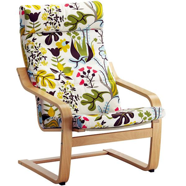 Poäng, ohýbané bukové drevo, polyuretánová pena, 100 % bavlna, 68 × 82 × 100 cm, 89 €, IKEA