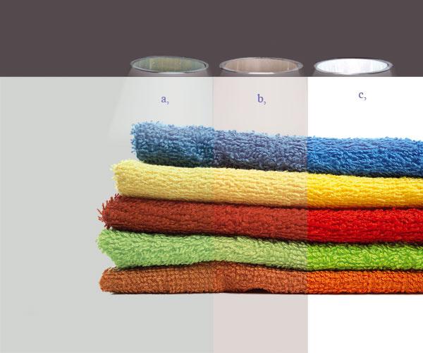 """Farebné spectrum -uteráky– popis obrázku: """" A. Lacný odrazový materiál , B. Bežný odrazový materiál , C. Spectralight® Infinity"""