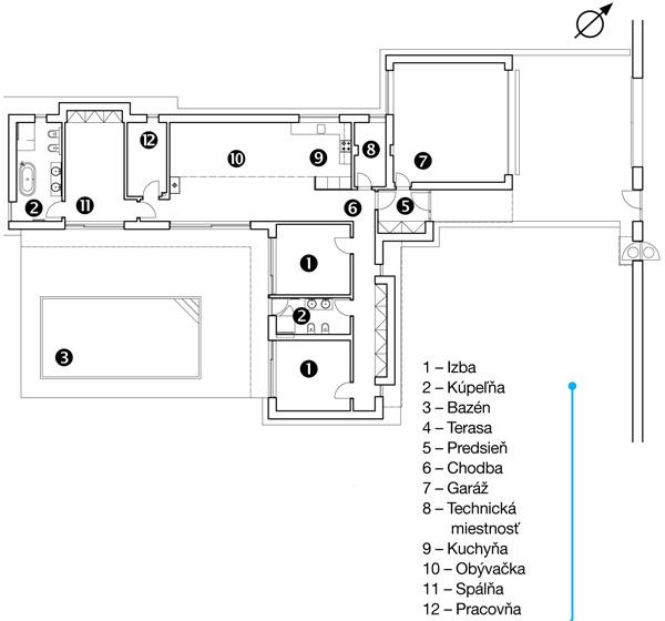 Pôdorys Dom rešpektuje uličnú čiaru definovanú susedmi aátriom sa otvára do záhrady smerom na juhozápad. Prístup apríjazd sú zpriľahlej ulice. I keď v ňom momentálne žijú len dvaja dospelí, prízemný dom je dispozične pripravený aj na štvorčlennú rodinu.  1 – Izba 2 – Kúpeľňa 3 – Bazén 4 – Terasa 5 – Predsieň 6 – Chodba 7 – Garáž 8 – Technická miestnosť 9 – Kuchyňa 10 – Obývacia izba 11 – Spálňa 12 – Pracovňa