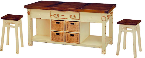 Provence, kuchynský ostrov sdvoma stolčekmi, masív, prútie, 140 × 89 × 55 cm, 748 €, tintinhal.sk