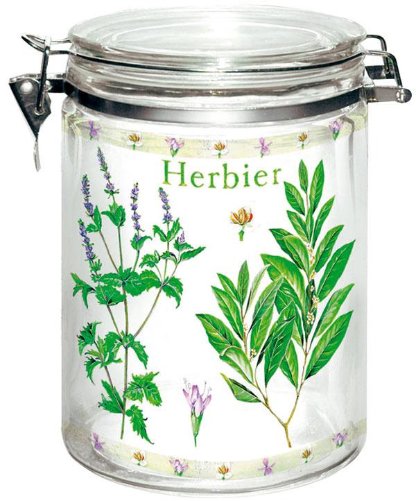 Herbier, dóza zhrubého masívneho skla vrchnák stesnením, firma Delta G., objem 1 200 ml, 9,90 €, tintinhal.sk
