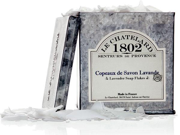 Levanduľa, strúhané mydlo vplechovej škatuľke, Le Chatelard, 72% prírodných látok, obsah 575 ml, 11,82 €, bellarose.sk