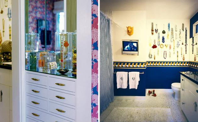 Zaujímavý tip: ozdobte si nočný stolík, alebo rovno stenu na toalete, farebnou bižutériou!