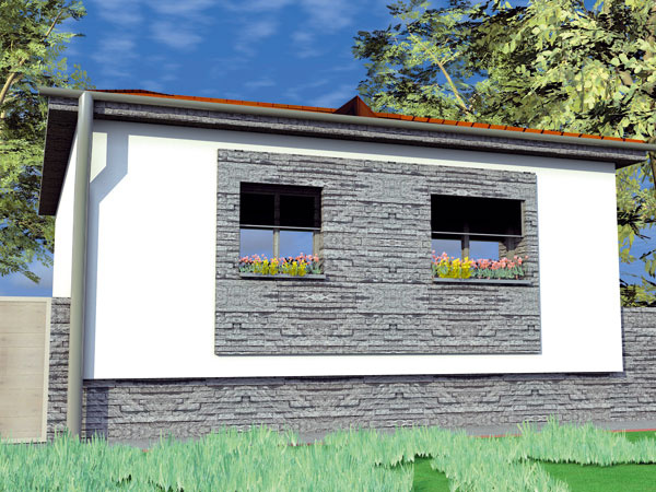 Riešenie #2 Kombinácia sivej farby akamenného obkladu dodávajú domu modernejší ráz