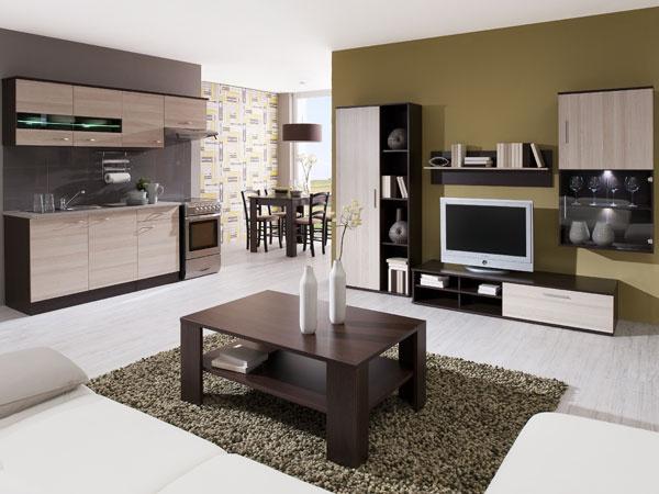 kuchynská linka Nela 179€, obývacia zostava Step- 199€, jedálenský stôl Portos 69€, stolička Sana 1ks- 19,9€, konferenčný stolík Rico- 69€
